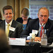 Itron's Ed White (r) addresses the panel as KEMA's Robert Wilhite listens.