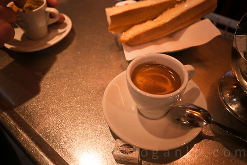Cup of coffee at La Pointe Saint Eustache in Paris