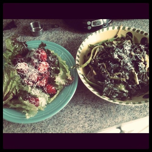 Greens, polenta, and strawberry salad