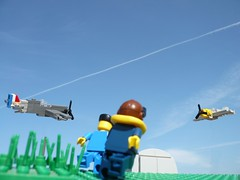 Dogfight... (Rebla) Tags: plane lego wwii ww2 spitfire forcedperspective pilot raf me109 microscale airflied