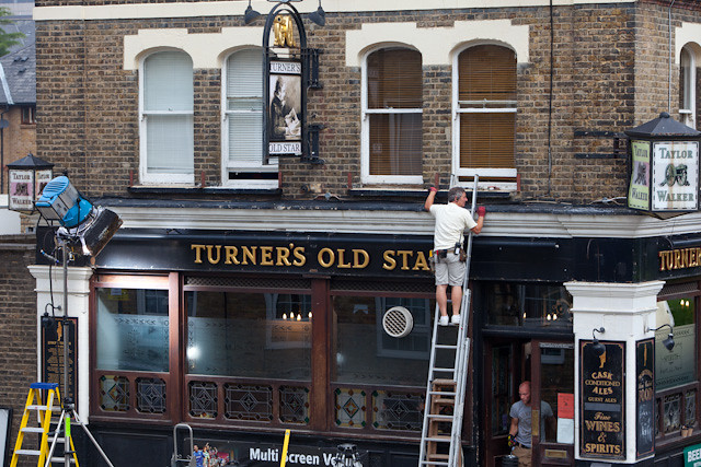 "ITV Studios filming ""White Heat"" at Turners Old Star pub in Wapping"