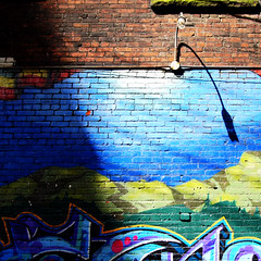 Backstreet Light (Explored Front Page) (. Jianwei .) Tags: street light shadow urban brick texture lamp colors vancouver downtown grafitti streetlife backstreet 365 curve a500 jianwei explored kemily