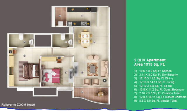 Vascon Forest County Kharadi 2 BHK Flat 1315 sq.ft. Saleable Area