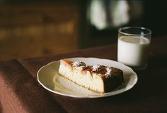 rhubarb pie (Liis Klammer) Tags: food film kitchen glass analog 35mm pie dessert baking milk sweet bokeh plate sugar zenit rhubarb zenitet