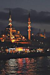 Istanbul lights (lucymagoo_images) Tags: reflection night turkey river lights nikon darkness dusk istanbul mosque grainy bosphorus minarets d90 lucymagoo lucymagooimages