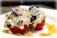 Unchickun Stuffed Tomatoes with Herbs de Provence Marinaded Grapes (Vegan Feast Catering) Tags: tomato salad vegan stuffed sp grapes garlic seitan pickle scallion herbsdeprovence eyefi veganmayo