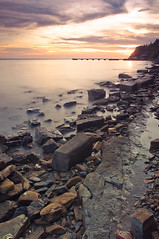 Sunset long exposure (Alja Vidmar | ADesign Studio) Tags: longexposure sea clouds landscape nikon slovenia sherpa 200r cokin velbon ndfilter gnd ankaran d5000 nd8x