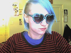 365days: April 13th self-portrait (babymanji) Tags: selfportrait girl fashion hair webcam grunge piercings shavedhead bluehair septumpiercing manicpanic sidecut undercut 365days colorfulhair gpoy