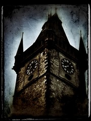 Prague Tower #4 (alt) (CJPolitzki) Tags: vintage flickr prague grunge iphone ipodtouch snapseed