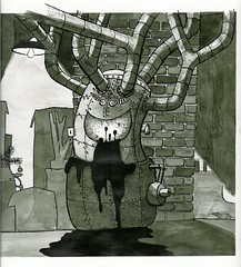 Basement Monsters: King Oily (ianulimac) Tags: blackandwhite bw white black art monster lightbulb illustration laughing pen ink dark ian junk rat king shadows drawing originalart character bricks pipes basement lord creepy story heater oil oily crown boxes illustrator draw furnace miserable ruler cellar smelly crooked macdonald damp mischevious penandink pinkies leaky ductwork oilburner indiaink inkwash hanginglight meddling barebulb vengeful originalillustration ianmacdonald kingoily basementmonsters crookedpinkiesart