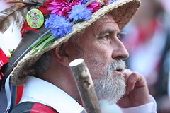 Morris Dancer (Linda Cronin) Tags: flowers summer man english hat beard traditional dancer stick morrisdancer