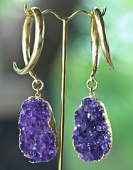 Amethyst Druzy Ear Weights