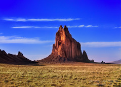 Shiprock Peak , New Mexico ( Ts Bit' A'  - Navajo ) (janusz l) Tags: sunset cliff newmexico volcano lava ship desert native peak planes indians tall navajo legend plain hdr core clipper steep shiprock sheer janusz din leszczynski fourcorner tsbita 013926