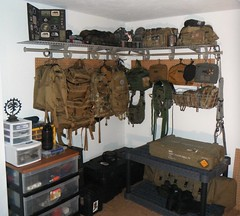 gear room (justaninja) Tags: camping bag gear collection pouch backpack blackhawk maxpedition tactical sotech cryeprecision hsgi kifaru tacticaltailor tadgear diamondbacktactical