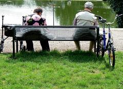 Be mobile. (remember moments) Tags: people green senior grass bicycle bench pond couple break pair wheels lawn cologne köln flowerpower rollator walkingframe dietmarvollmer elderlyperson