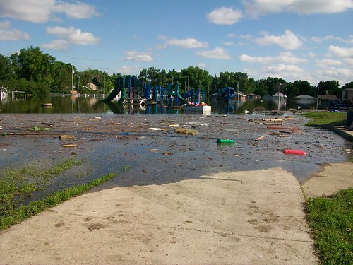 Flooded playground at Longfellow Elementary.