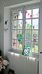 one of my studio windows today (pamela.angus) Tags: window glass studio angus handmade stained workshop pamela atelier bunting