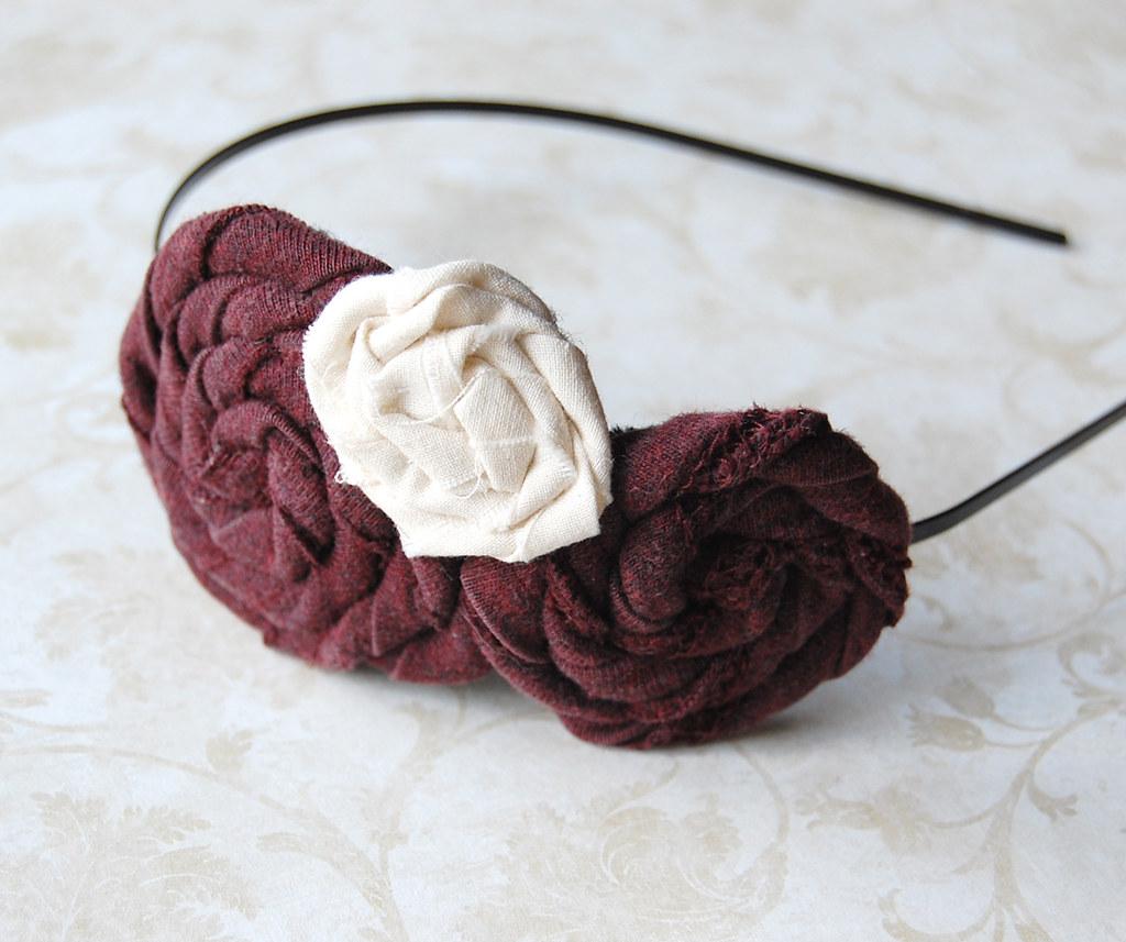 Marroon Rosette Headband