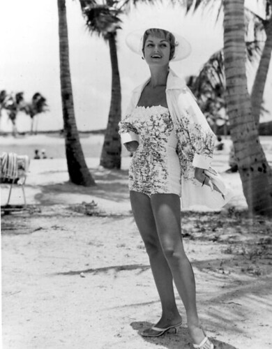 A fashion model in swimsuit poses at Matheson Hammock Park beach: Miami, Florida by State Library and Archives of Florida