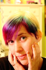 Soo, I dyed my hair rainbow. (Kyra Elizabeth) Tags: portrait selfportrait hairdye face self hair rainbow eyes colorful candy short shorthair skittles rainbowhair cottoncandyhair colorfulhair skittlescandy