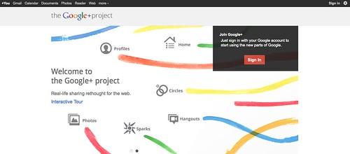 Google+ opening screen
