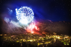 'Sleepy Little Mountain Town, United States, Colorado, Aspen, Fireworks (WanderingtheWorld (www.ChrisFord.com)) Tags: road city trip travel blue chris red white mountain mountains night stars lights town blog interesting colorado colorful glow bright fireworks unique united 4th july rocky patriotic sleepy nighttime states aspen fourth smuggler schoenbohm lostmanproject
