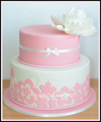 Elizabeth's Cake (Klaire with a Cake) Tags: birthday pink 2 cakes rose cake pattern lace peony tier tlc thelittlecupcakery klairescupcakes