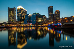 Evelyn Moakley Bridge (idashum) Tags: city longexposure nightphotography sunset boston night docks reflections harbor pier dock nikon bravo cityscape walk massachusetts bluehour ida shum fortpointchannel d300 fanpier idashum idacshum bostonharbortrail
