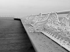 Central Pier (divnic) Tags: sea england blackandwhite bw beach pier lancashire blackpool centralpier irishsea fylde northernengland northwestengland pleasurepier blackpoolcentralpier coastalpier johnisaacmawson blackpoolsouthjettycompany