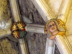 Malmesbury Abbey (pefkosmad) Tags: boss roof woman man church abbey faces princess interior painted prince ceiling nave vault gilded bosses figures greenman eastend lierne malmesbury sundaydrive repainted malmesburyabbey