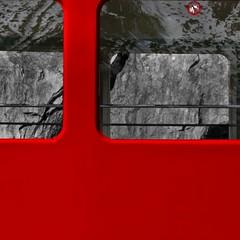 dangerous to lean out (Rino Alessandrini) Tags: windows red mountain snow abstract reflection geometric geometrico rock metal stone danger train square wagon grigio colore carriage gray neve ban carrozza astratto roccia pietra rosso montagna treno pericolo quadrato riflesso divieto metallo vagone finestrini