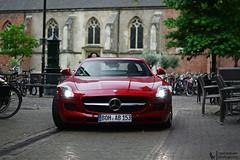Red SLS. (Lennard Laar) Tags: red cars netherlands car sport germany photography 50mm mercedes benz nikon super 63 german mercedesbenz nikkor 18 supercar v8 sls sportscar amg winterswijk gullwing carspotting lennard laar carsighting slsamg sls63 d3100 lennardlaar