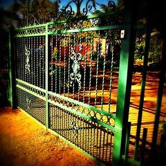 Entrance Gates (Cathlon) Tags: green shadows gates entrance double scavenger2 ansh54