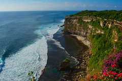 Green Cliff (amirdakkak1) Tags: nature uluwatu temple cliff green ocean waves outdoors plants flowers bali indonesia asia sunset landscape travel outdoor landscapes cliffs natural temples sea oceans cave caves blue sunrise