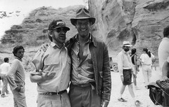 Steven Spielberg and Harrison Ford behind the scenes at Petra while filming Indiana Jones and the Last Crusade (1989) (Tom Simpson) Tags: indianajones harrisonford vintage film behindthescenes movie indy stevenspielberg