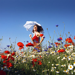~ real good feeling ~ (~ Pixel Passion ~) Tags: flowers blue red summer woman white nature colors girl field grass female laughing umbrella fun spring colorful mood moody colours dress natural joy meadow atmosphere happiness sunny enjoy poppies colourful atmospheric summerbreeze cornflowers camomille