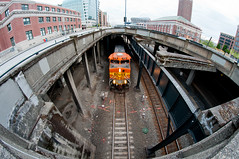 BNSF train downtown Seattle (Northwest dad) Tags: seattle street railroad train photography nikon place market fisheye pike 8mm bnsf d300 samyang prooptic