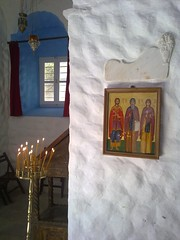 The PEACE OF SOUL (dimitra_milaiou) Tags: life blue light shadow people white art church window wall architecture painting island greek europe day candle path aegean hellas icon greece hora split emotions archaeological comb chora andros cyclades archeological platanos dimitra hellenic  kyklades   horaandros aigaio     milaiou