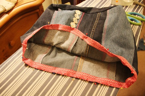 denim tote with ribbon trim pinned