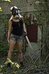 IMG_0143WM (RobRoselli) Tags: woman beautiful alone zombie badass apocalypse gasmask machete fearless fallout