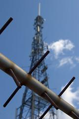 Keep Out (Richard Amor Allan) Tags: blue sky dish satellite communication stokeontrent mast fenton transmitter