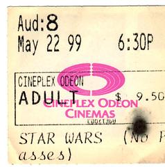 Star Wars Episode 1 (May 22 1999) (grilled cheese) Tags: toronto ontario canada starwars may cinemas ticket 1999 episode1 ticketstub phantommenace prequel cineplexodeon