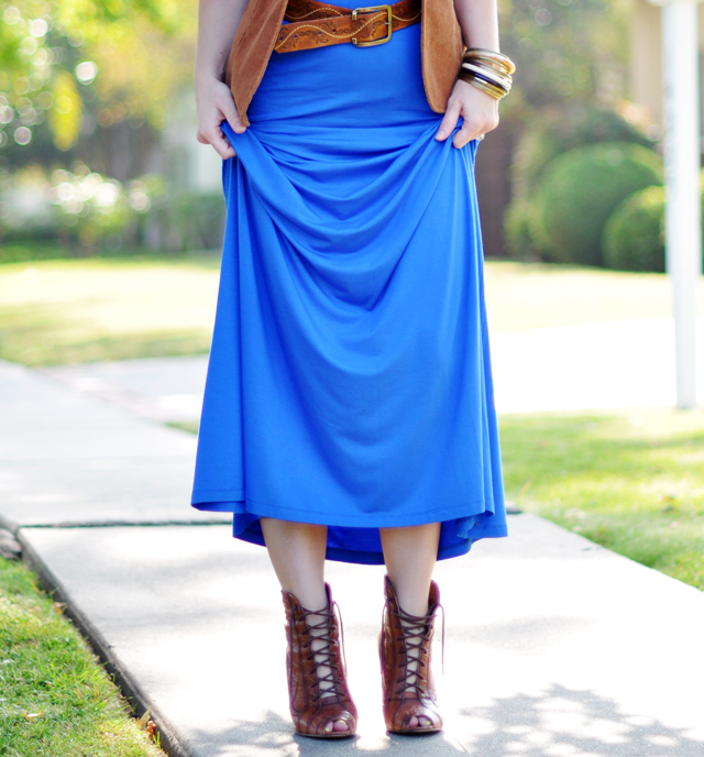 lace up peep toe cognac boots with long blue maxi dress
