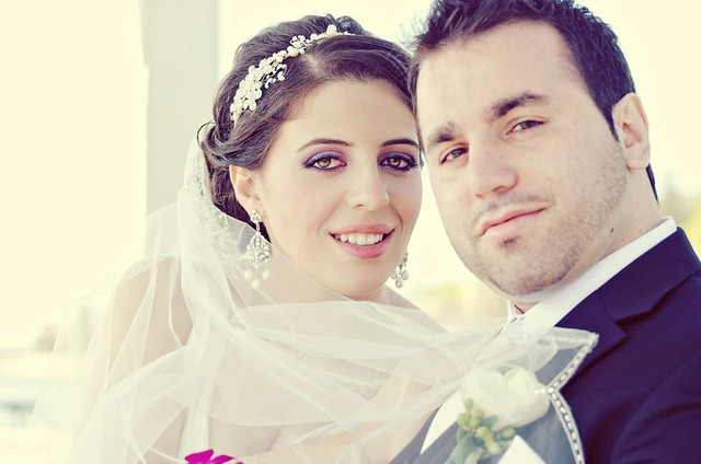 Bridal Styles Boutique real bride Adelina in crystal and  pearl band and custom earrings