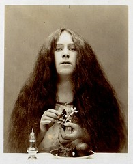 pre-raphaelite beauty (unexpectedtales) Tags: old white black strange beauty vintage wonderful hair found weird photo long shot very antique snapshot surreal snap photograph vernacular unusual enigmatic preraphaelite peculiar unexpectedtales vernaculat