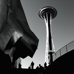 Seattle Space Needle turns 50 ({DB}) Tags: seattle city people urban music silhouette project experience spaceneedle emp