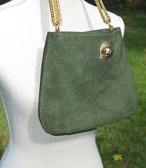 Vintage Green Suede Cougar Head Bag by designer Ruth Saltz (Angel Grace Jewelry, Womens Belt Buckles, Snap On ) Tags: ladies classic leather fashion vintage bag gold women 60s head designer womens chain purse strap 70s accessories 1960s 1970s iconic cougar handbag suede accessory adjustable goldtone catpack ruthsaltz