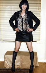 leather n leopard print (Claudia Dorset) Tags: me leather tv cd transvestite leopardprint crossdresser