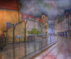 BRATISLAVA, Downtown (Cat Girl 007) Tags: texture architecture colorful cloudy rainy historical slovakia bratislava hdr oldworld trolleytracks distressedjewell moonseclipsehighlights moonseclipsegallery23