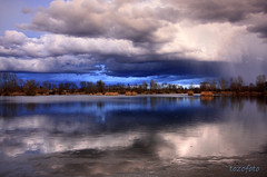 (tozofoto) Tags: trees light lake storm reflection nature water colors rain clouds canon landscape bravo hungary zala tozofoto